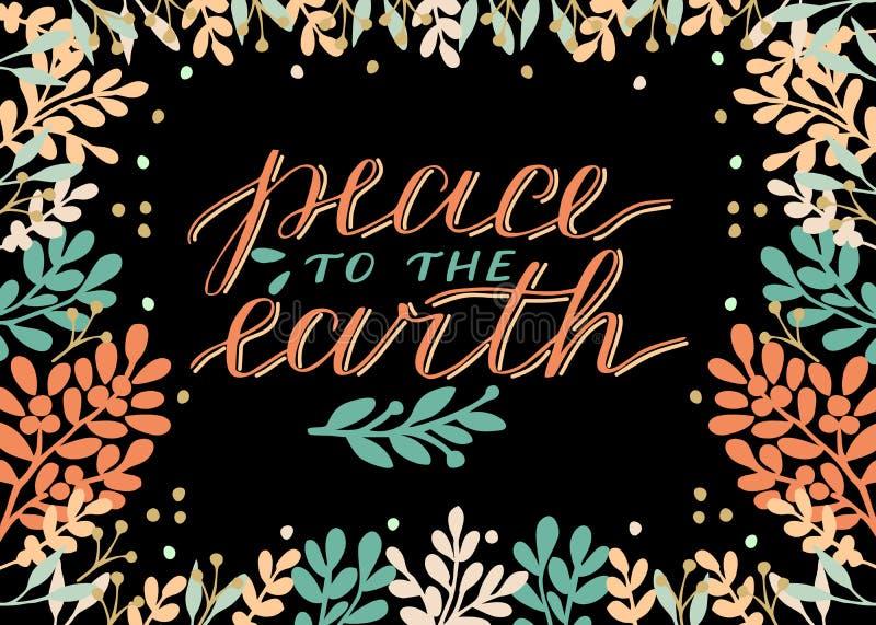 与题字和平的假日圣诞卡片对地球,在黑背景做了手字法 皇族释放例证
