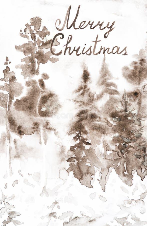 与题字圣诞快乐的明信片 冬天雪森林手拉的水彩例证褐色风景  图库摄影