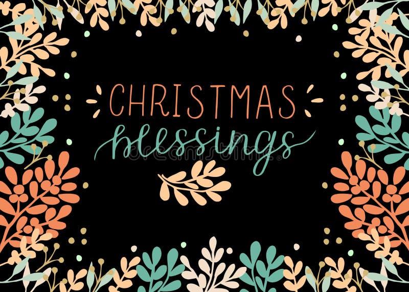 与题字圣诞节祝福的假日卡片,在黑背景做了手字法 向量例证