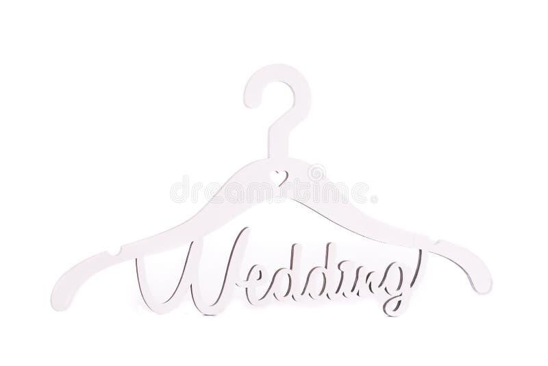 与题字婚礼的挂衣架 免版税库存照片