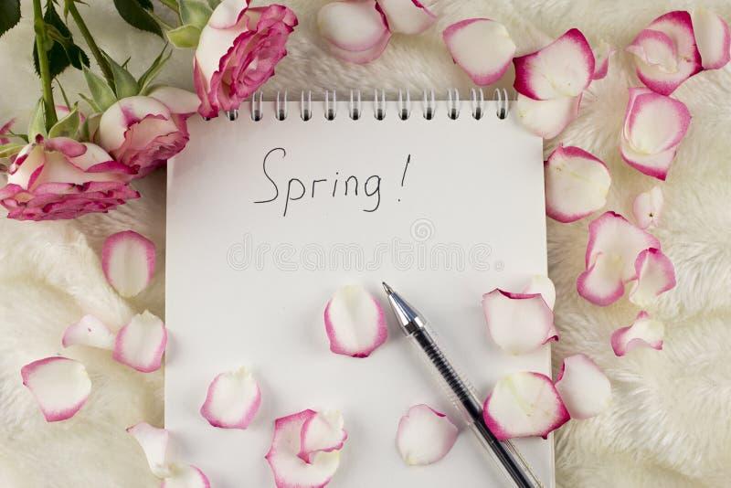 与题字春天,玫瑰花瓣,玫瑰的笔记薄,写作自然 免版税库存照片