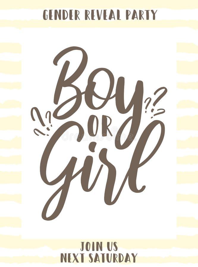 与题字男孩或女孩的模板请帖黄色镶边背景的 性别的传染媒介例证显露pa 库存例证
