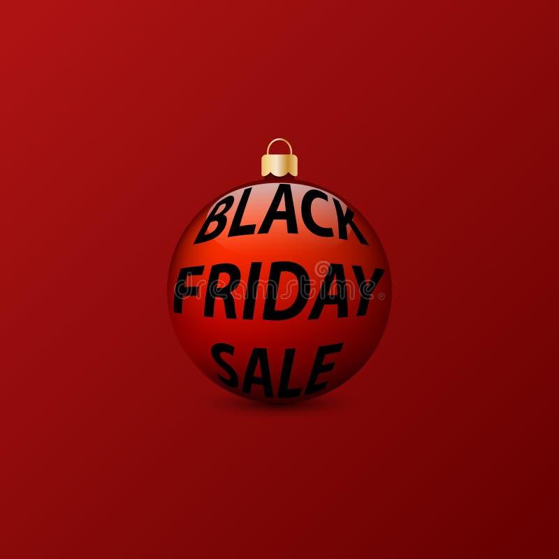 与题字黑色星期五销售的圣诞节球在红色背景 向量例证