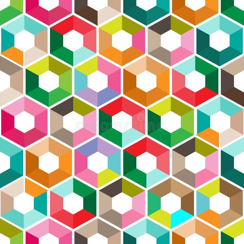 与颜色三角的六角形 无缝抽象的背景 也corel凹道例证向量 与三角几何的五颜六色的多角形样式 向量例证