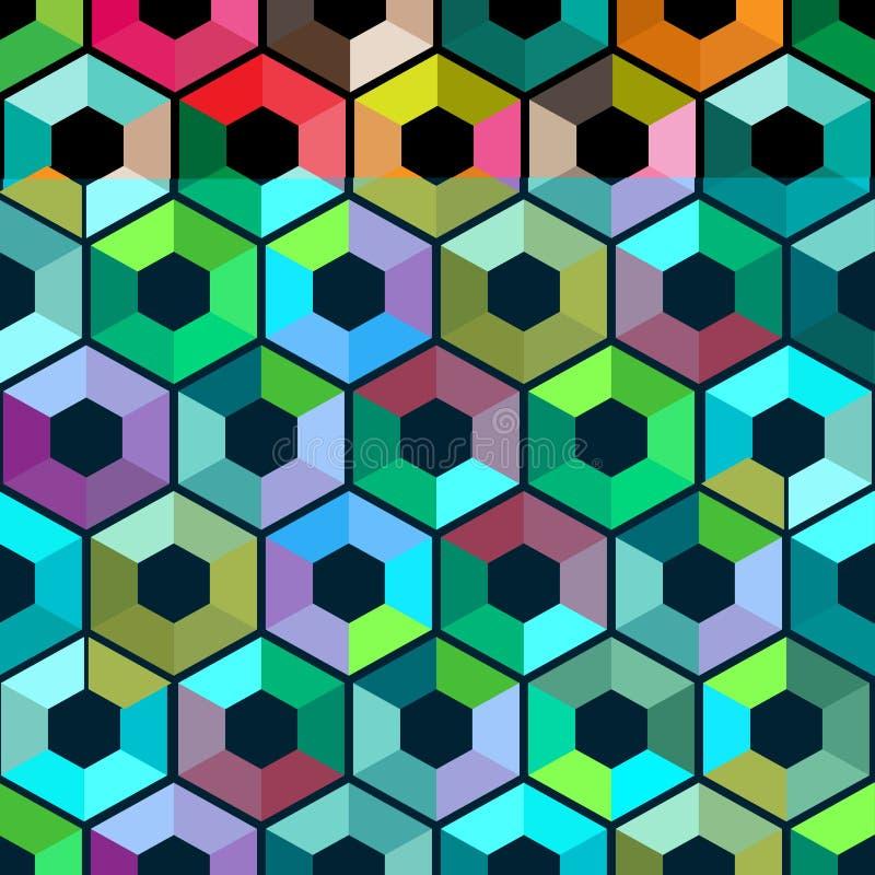与颜色三角的六角形 无缝抽象的背景 也corel凹道例证向量 与三角几何p的五颜六色的多角形样式 皇族释放例证