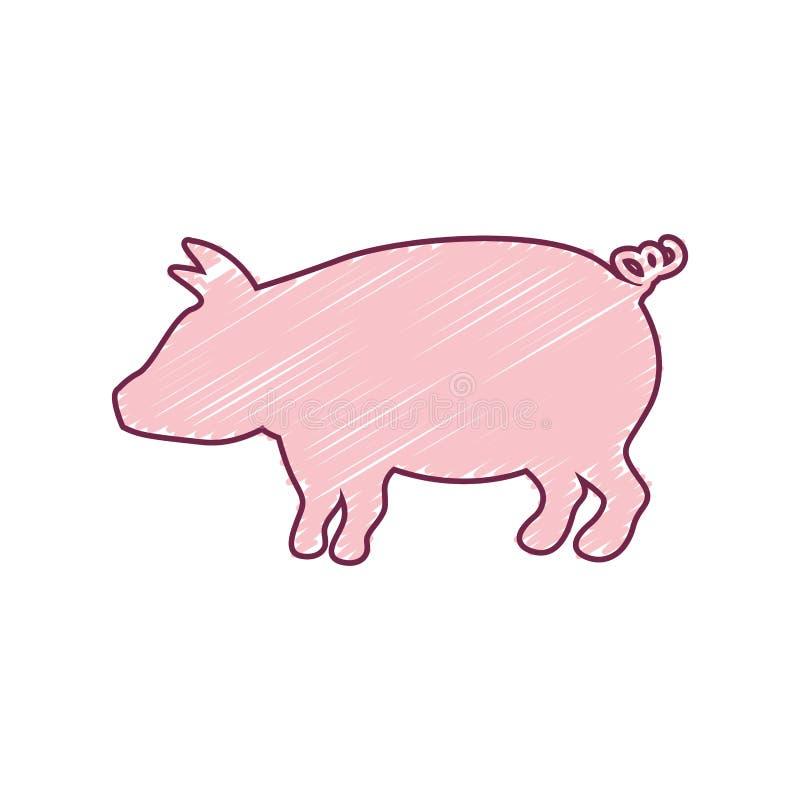 与颜色冲程的剪影猪 皇族释放例证