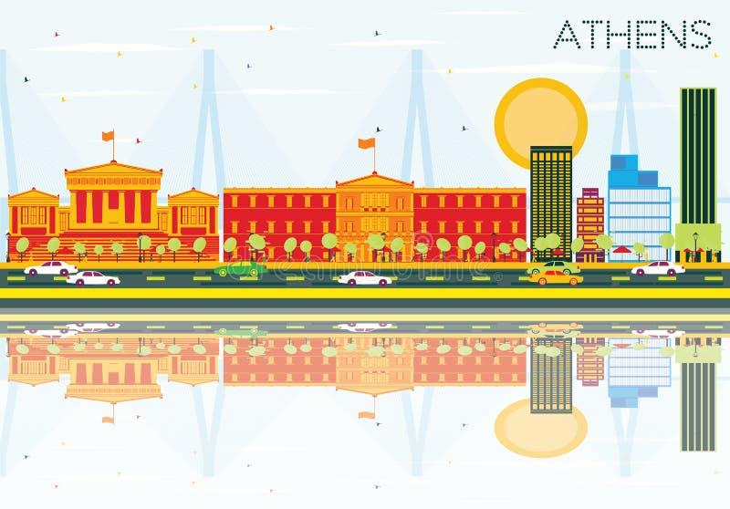 与颜色大厦、蓝天和反射的雅典地平线 库存例证