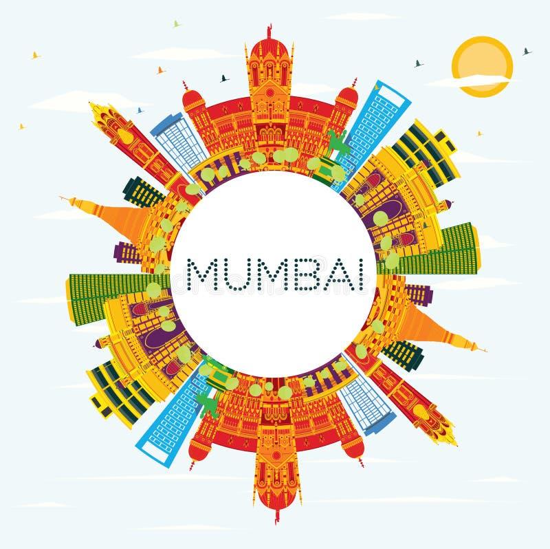 与颜色大厦、蓝天和拷贝温泉的孟买印度地平线 库存例证