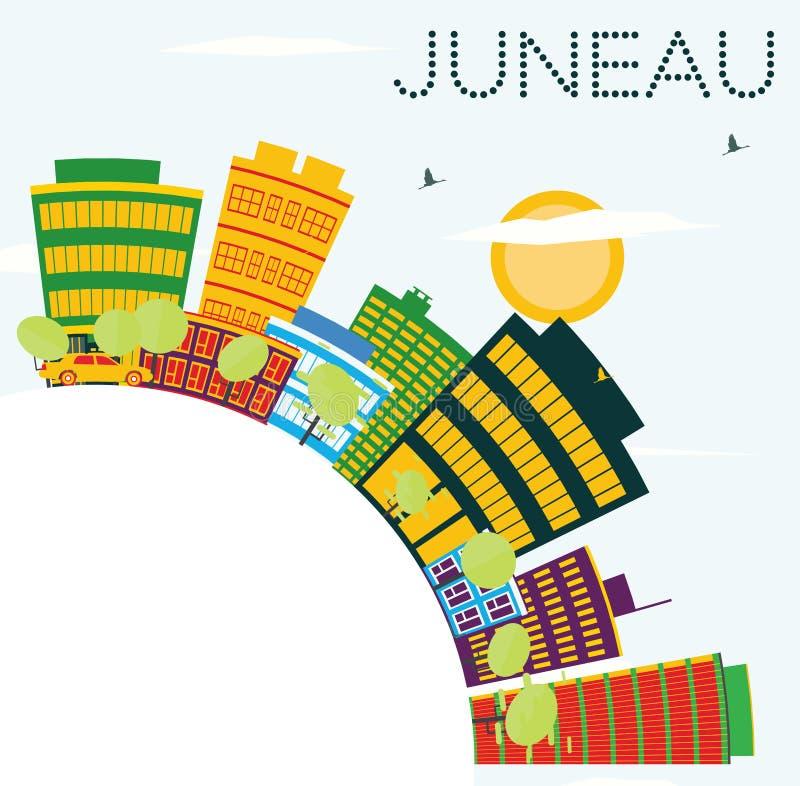与颜色大厦、蓝天和拷贝空间的朱诺美国地平线 库存例证