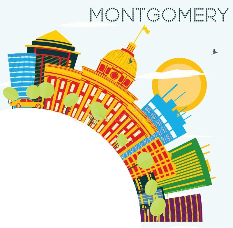 与颜色大厦、蓝天和拷贝S的蒙加马利美国地平线 向量例证