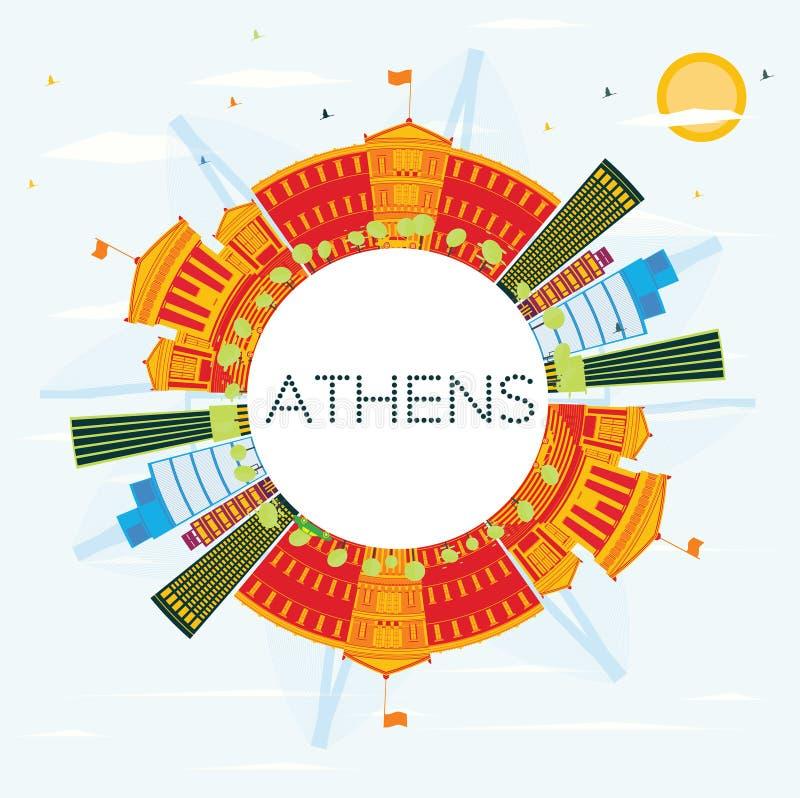 与颜色大厦、蓝天和拷贝空间的雅典地平线 库存例证