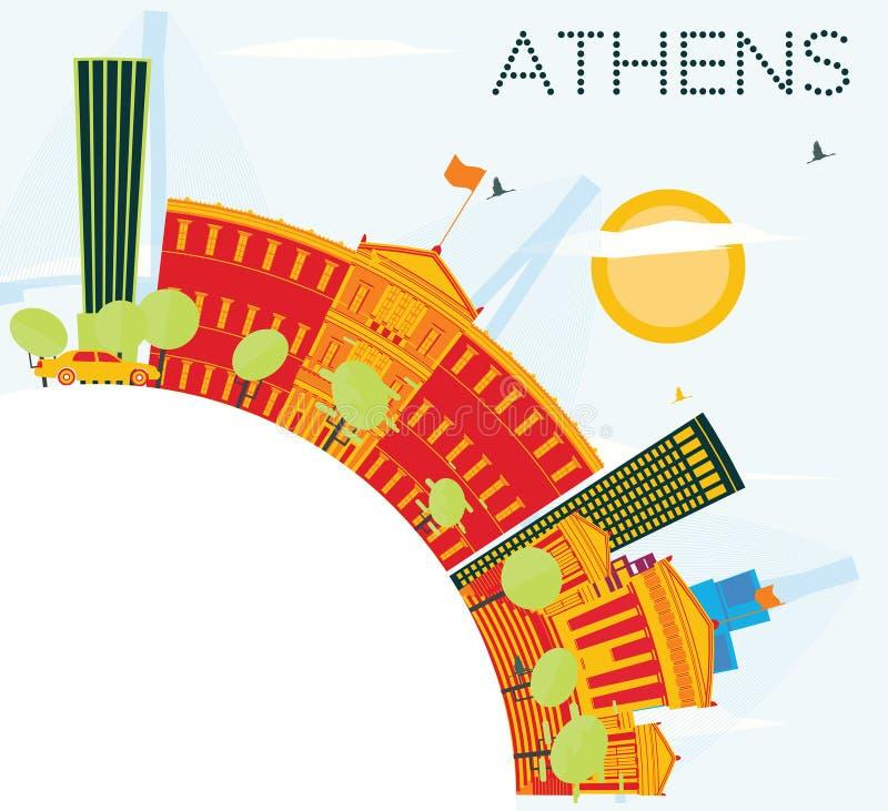 与颜色大厦、蓝天和拷贝空间的雅典地平线 皇族释放例证