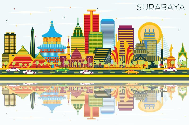 与颜色大厦、蓝天和稀土的苏拉巴亚印度尼西亚地平线 向量例证