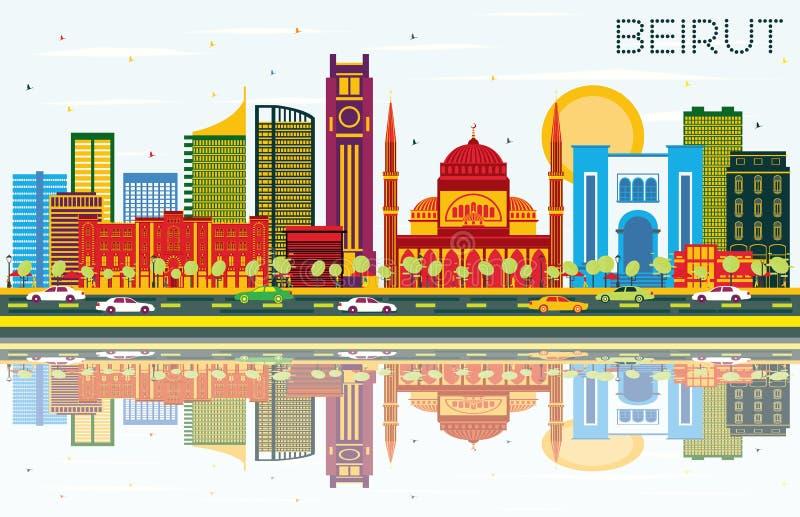 与颜色大厦、蓝天和Reflec的贝鲁特黎巴嫩地平线 向量例证