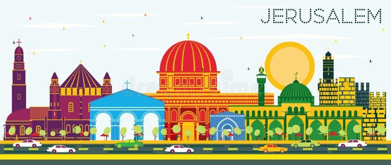 与颜色大厦和蓝天的耶路撒冷以色列地平线 向量例证