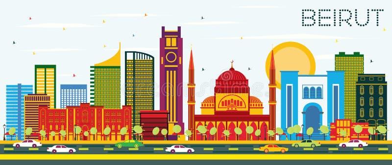 与颜色大厦和蓝天的贝鲁特黎巴嫩地平线 皇族释放例证