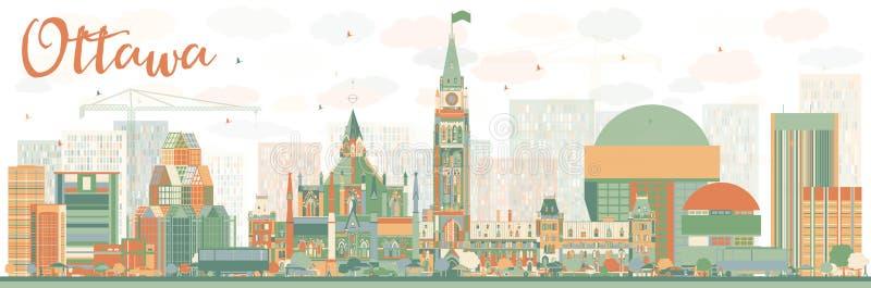 与颜色大厦的抽象渥太华地平线 皇族释放例证