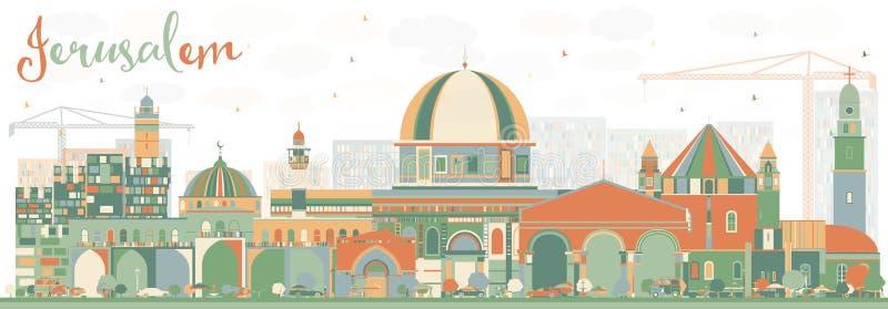 与颜色大厦的抽象耶路撒冷地平线 库存例证