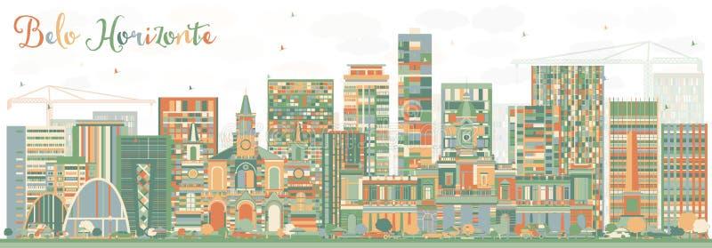 与颜色大厦的抽象贝洛奥里藏特地平线 库存例证
