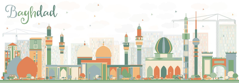 与颜色大厦的抽象巴格达地平线 库存例证