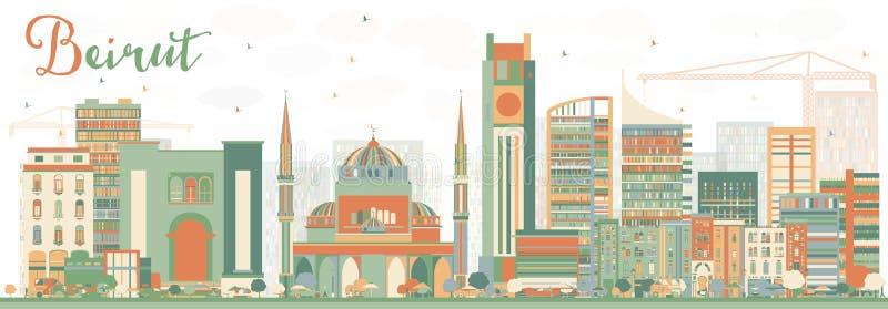 与颜色大厦的抽象贝鲁特地平线 库存例证
