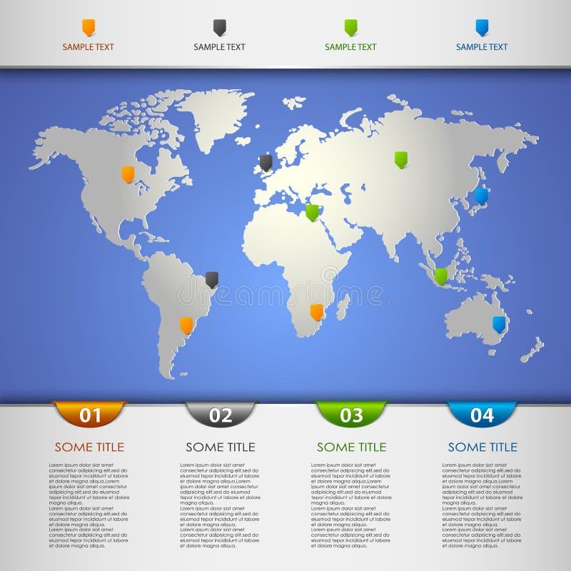 与颜色尖的信息图表在世界地图 库存例证