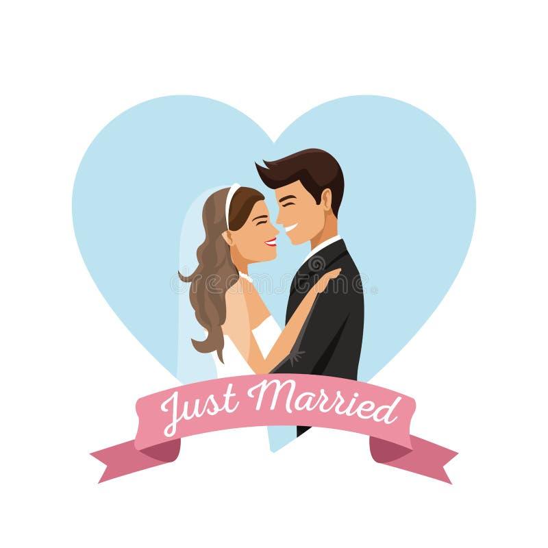 与颜色心脏形状结婚的夫妇框架海报的白色背景  库存例证