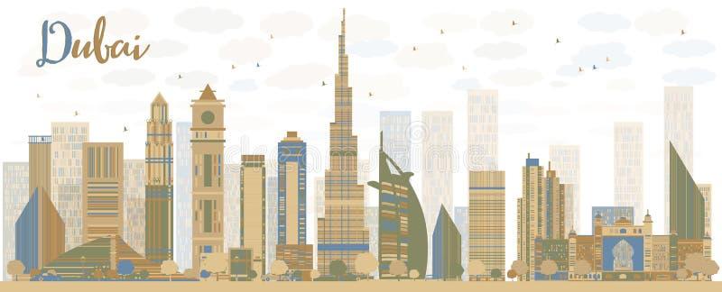 与颜色摩天大楼的抽象迪拜市地平线 向量例证