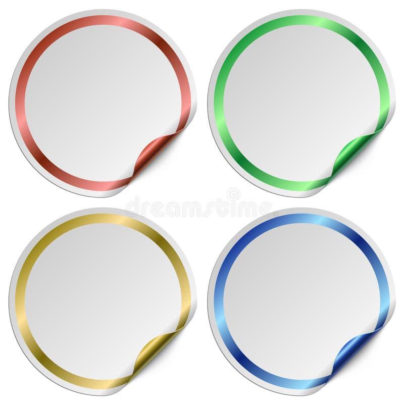 与颜色框架的空白的圆的白色贴纸 库存例证