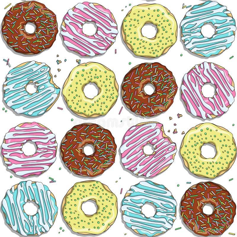 与颜色油炸圈饼的无缝的传染媒介样式 向量例证