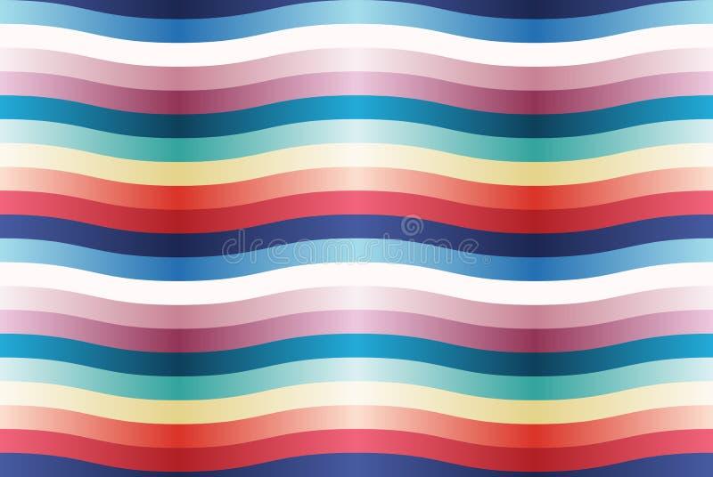 与颜色波浪小条的传染媒介无缝的样式。 库存例证