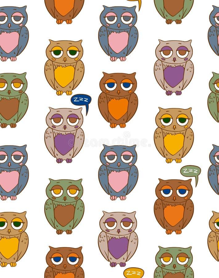与颜色猫头鹰的无缝的样式 向量例证