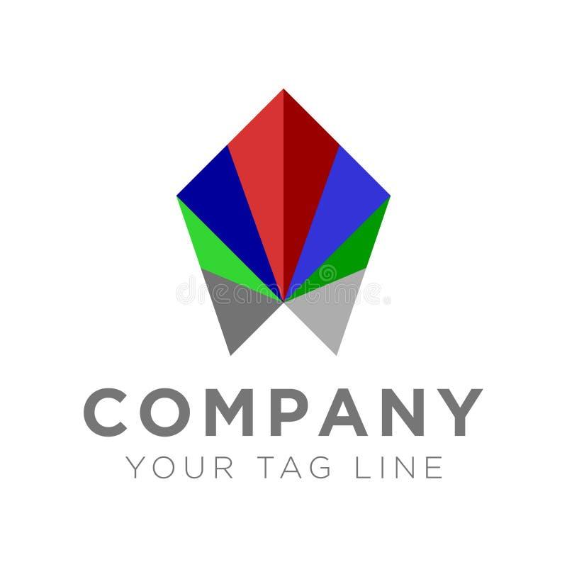 与颜色的多角形商标 向量例证
