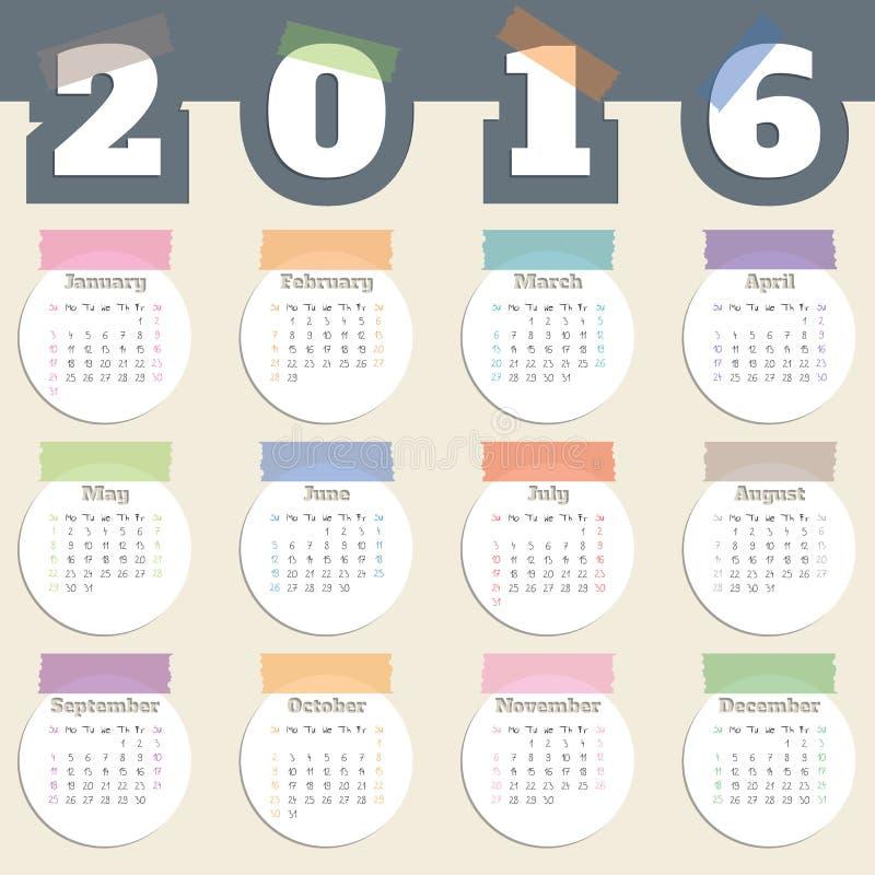 与颜色磁带和白色圈子的凉快的日历年2016年 库存例证