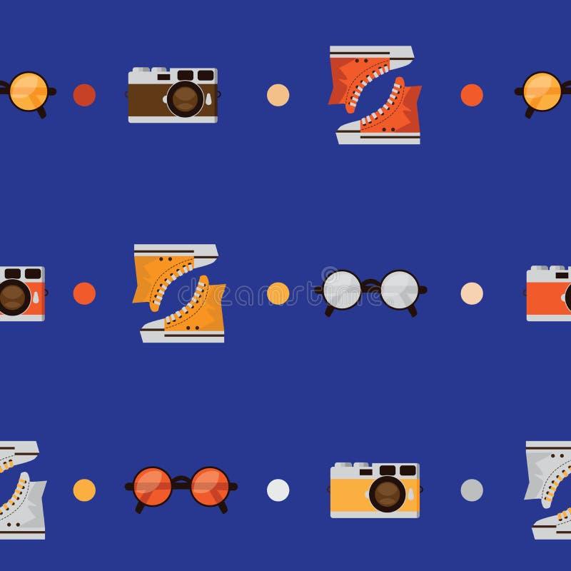 与颜色运动鞋、圆的形状的玻璃和减速火箭的photocamera的无缝的样式 用圈子装饰的传染媒介无缝的设计  库存例证