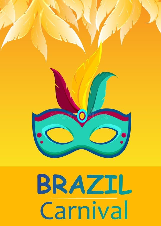 与颜色面具的橙色巴西狂欢节背景 皇族释放例证