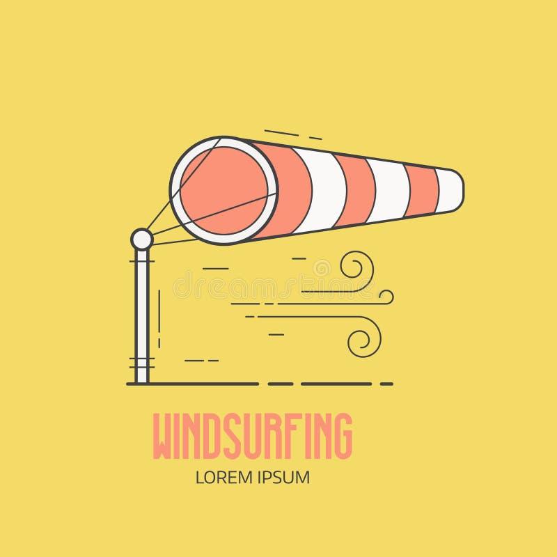 与风向袋的风帆冲浪的商标 皇族释放例证