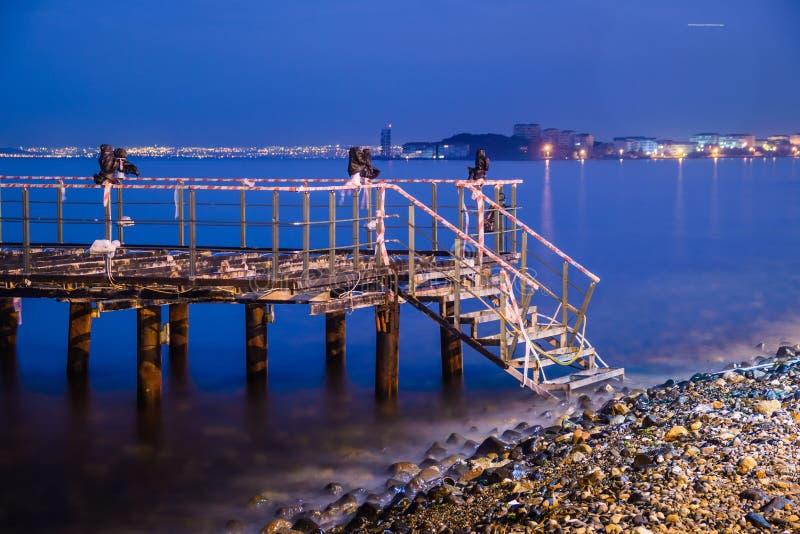 与风平浪静的使荒凉的船坞蓝色夜 免版税库存图片