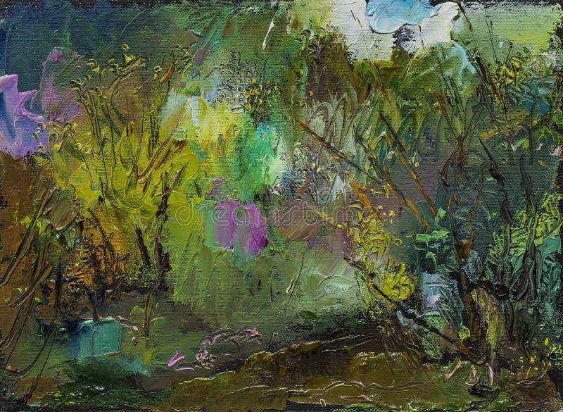 与风景、河和树的美好的原始的油画 库存图片