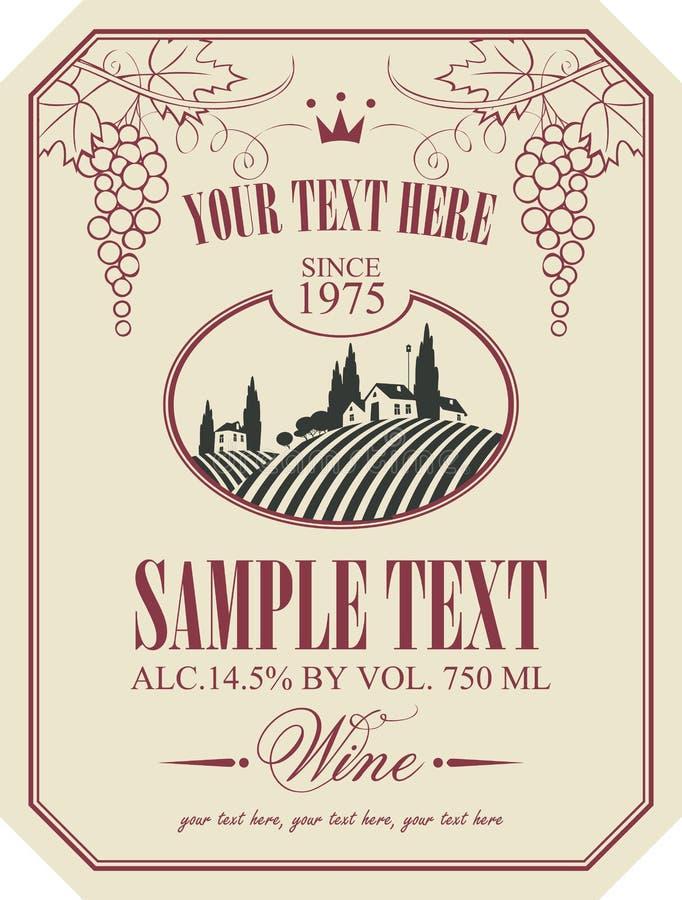 与风景的酒标签 皇族释放例证