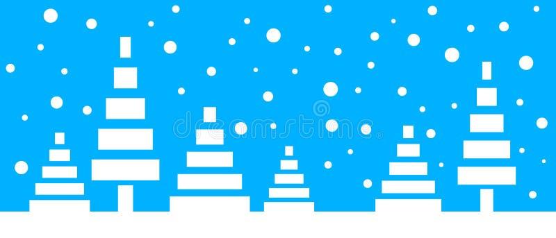 与风格化低多树和落的雪花的简单的无缝的纸裁减冬天传染媒介风景在蓝色背景 皇族释放例证