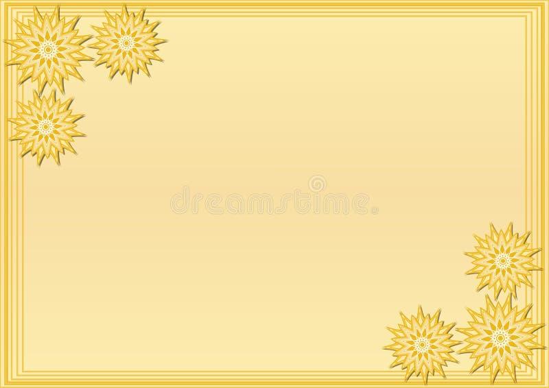 与风格化几何花的黄色框架在角落,自己的消息的空白的区域 皇族释放例证