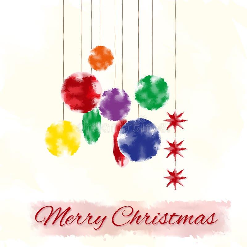与风格化圣诞树装饰,水彩作用的圣诞卡 向量例证