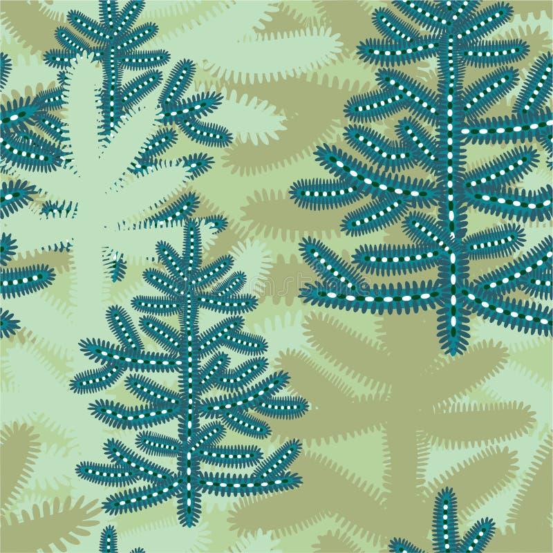 与风格化多雪的圣诞树的动画片冬天无缝的样式 皇族释放例证