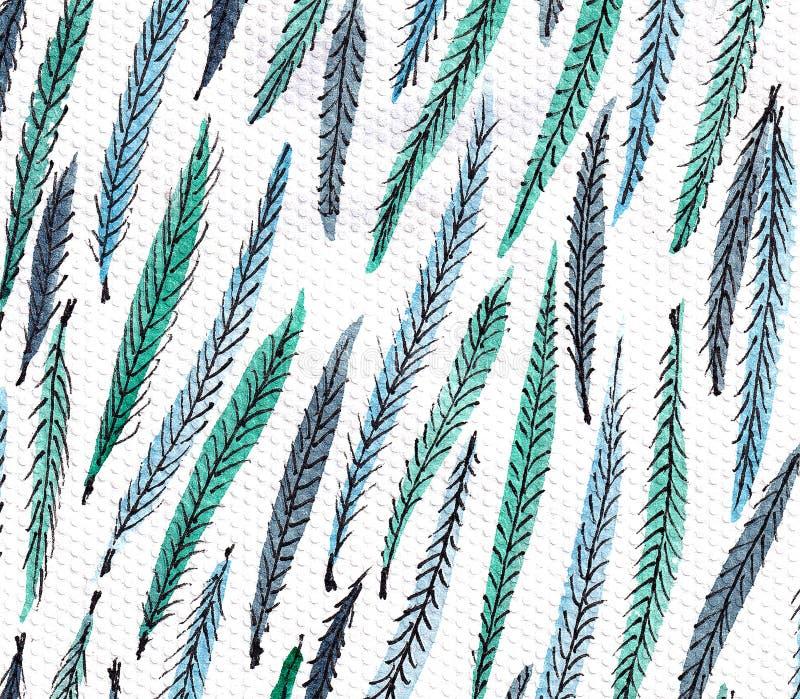 与风格化孔雀羽毛的无缝的样式 单色典雅的背景 库存例证