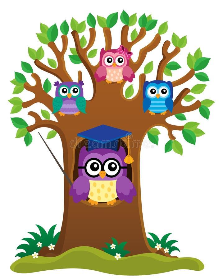 与风格化学校猫头鹰题材1的树 向量例证
