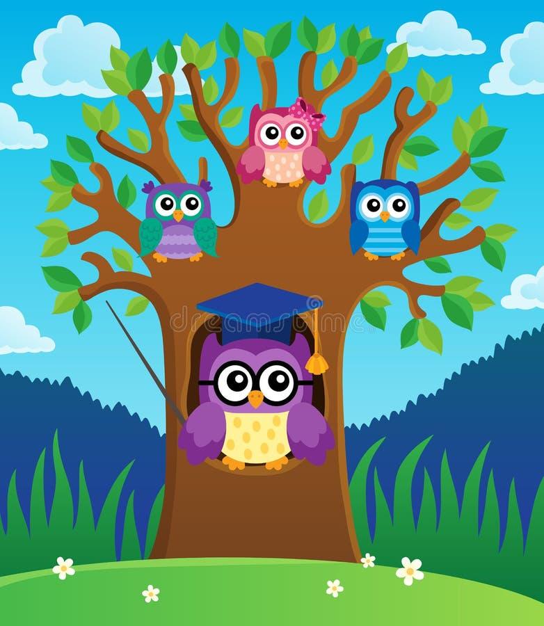 与风格化学校猫头鹰题材2的树 向量例证