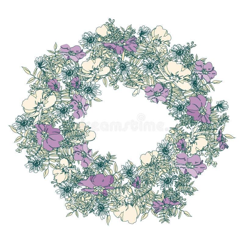 与风格化报春花的手拉的典雅和浪漫图表花框架 库存照片