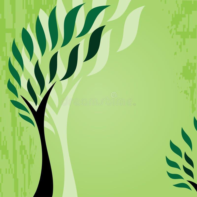 与风格化树的卡片在难看的东西背景,逗人喜爱的绿色抽象树 皇族释放例证