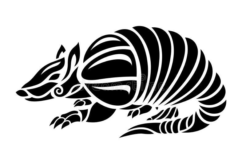 与风格化犰狳的黑白纹身花刺艺术 向量例证